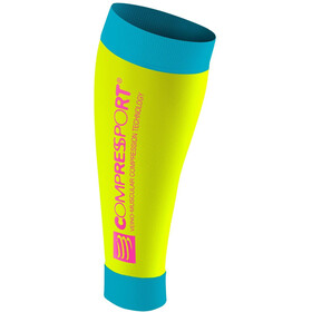 Compressport Calf R2 warmers geel/blauw